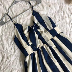 Navy/Cream Striped Maxi Dress